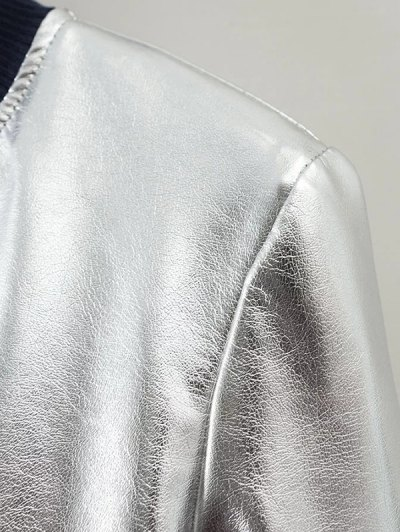 Metallic PU Leather Bomber Jacket - SILVER XL Mobile