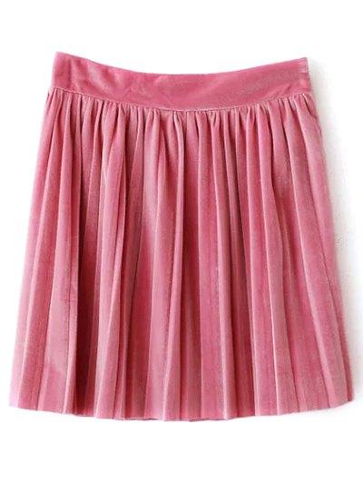 Pleated Velvet Mini Skirt - PINK M Mobile