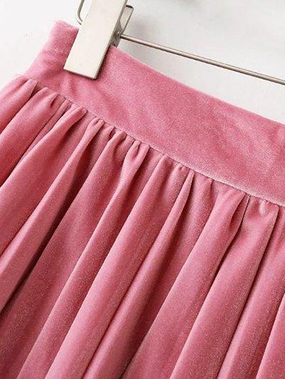 Pleated Velvet Mini Skirt - PINK L Mobile