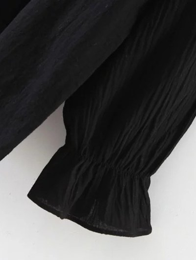Embroidered Ruffled Shirt - BLACK ONE SIZE Mobile