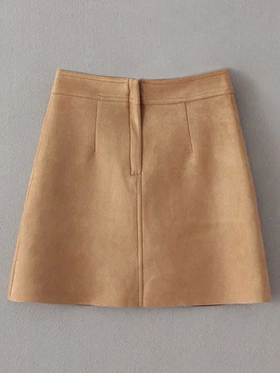 A Line Front Pockets Suede Skirt - LIGHT COFFEE S Mobile
