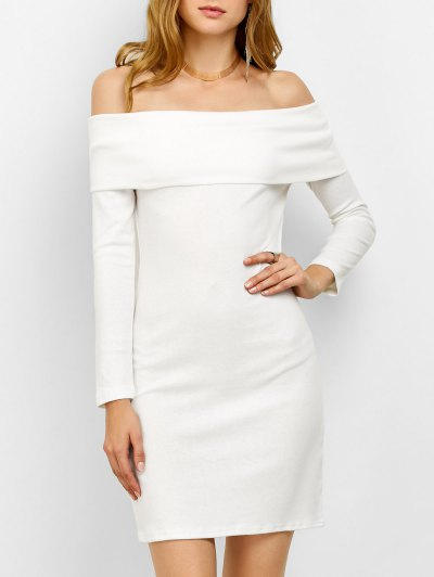 Off the Shoulder Mini Bodycon Dress - WHITE L Mobile