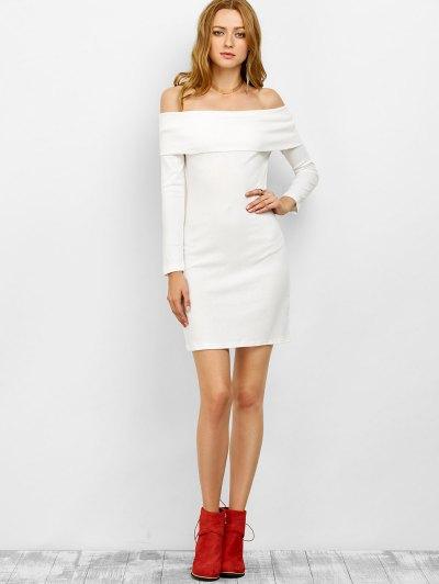 Off the Shoulder Mini Bodycon Dress - WHITE S Mobile