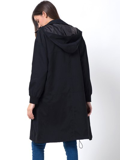 Full Zip Trench Coat With Pockets - BLACK 2XL Mobile