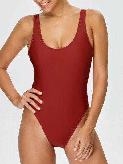 High Cut Backless Swimwear - RED M Mobile