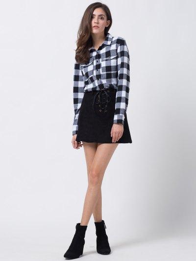 A Line Faux Suede Mini Skirt - BLACK M Mobile
