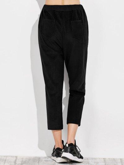 Pockets Drawstring Pants - BLACK M Mobile