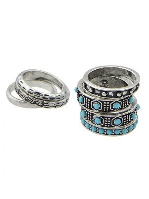 Faux Turquoise Rings Set - Silver