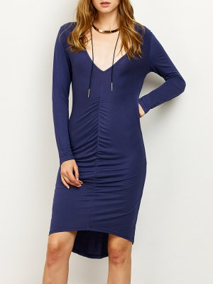 Ruched High-Low Pencil Dress - Purplish Blue