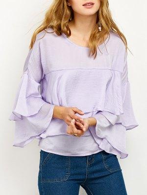 Jewel Neck Ruffles Layered Blouse - Light Purple