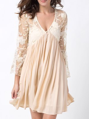 Flare Sleeve Deep V Lace Panel Dress - Off-white