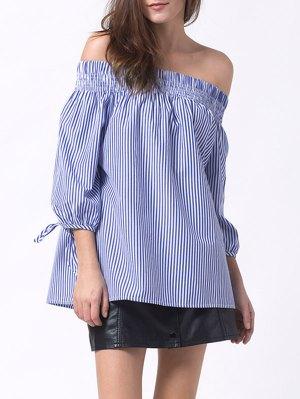 Off The Shoulder Smocked Striped Blouse - Blue