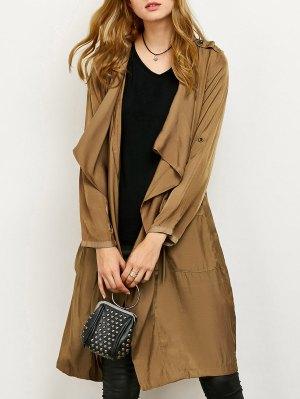 Drape Front Long Duster Coat - Dark Khaki