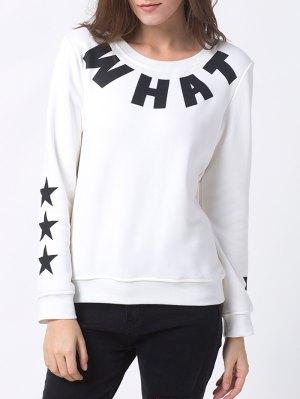 Letter Star Print Pullover Sweatshirt - White
