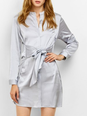 Tied Stand Neck Satin Shirt Dress - Gray