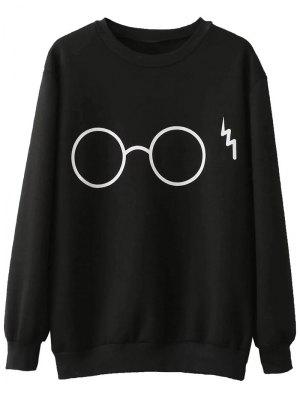 Fleece Lined Glasses Graphic Sweatshirt - Black