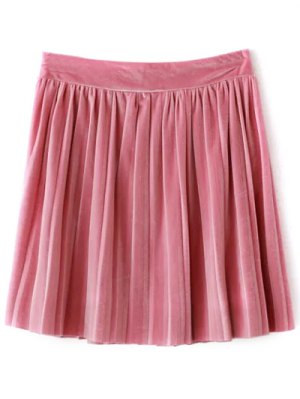 Pleated Velvet Mini Skirt - Pink