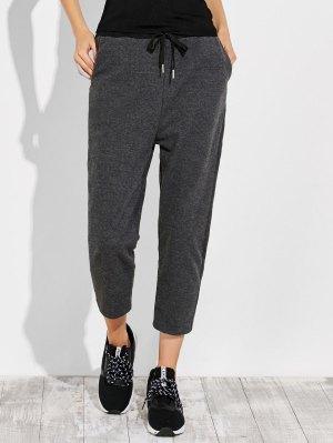Pockets Drawstring Pants - Gray