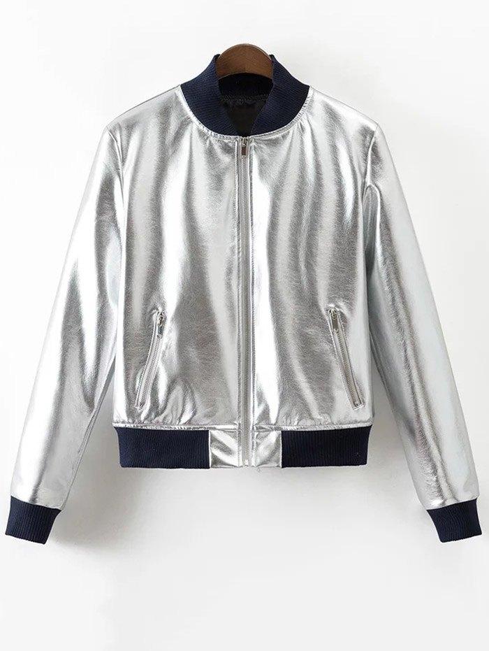 Metallic Color PU Leather Bomber Jacket