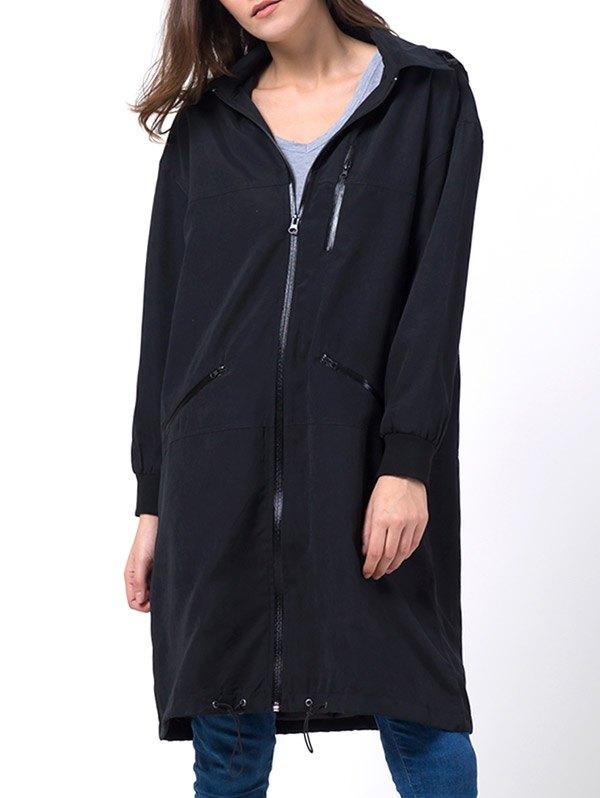 Hooded Full Zip Trench Coat