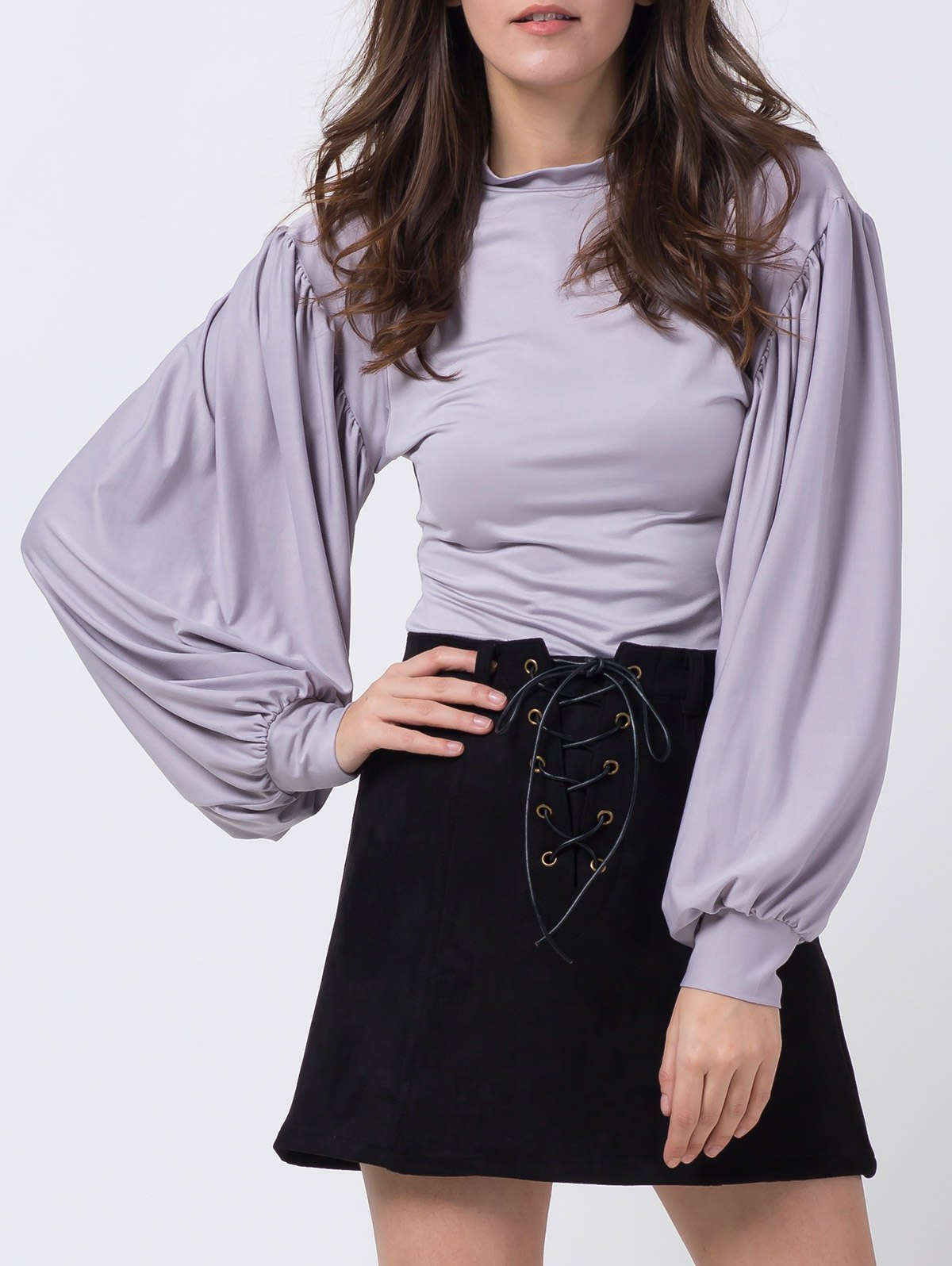 Lantern Sleeve Fitted T-ShirtClothes<br><br><br>Size: XS<br>Color: GRAY