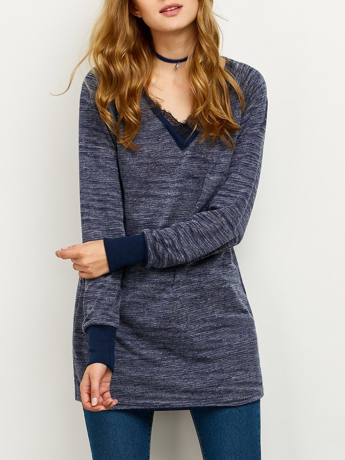 Lace Spliced Loose Sweatshirt