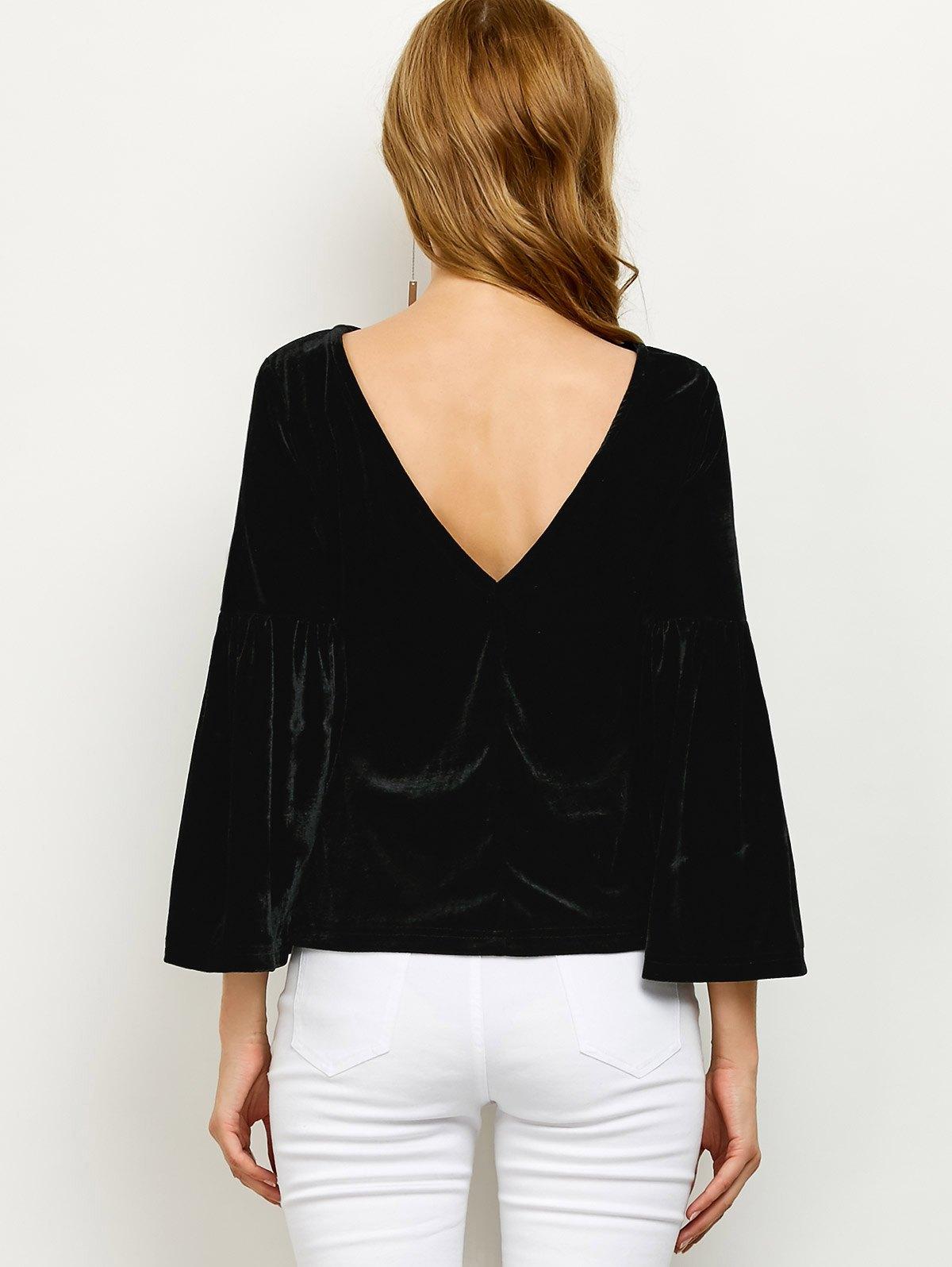 V Back Flare Sleeve Velvet T Shirt