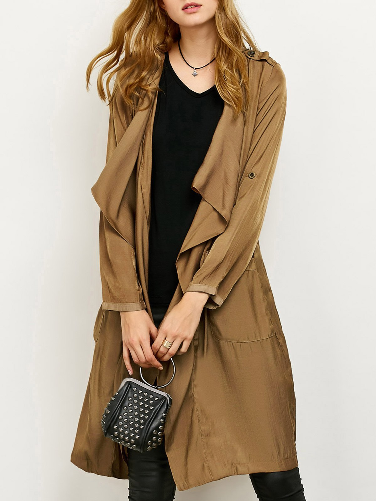 Drape Front Duster Coat with Pockets