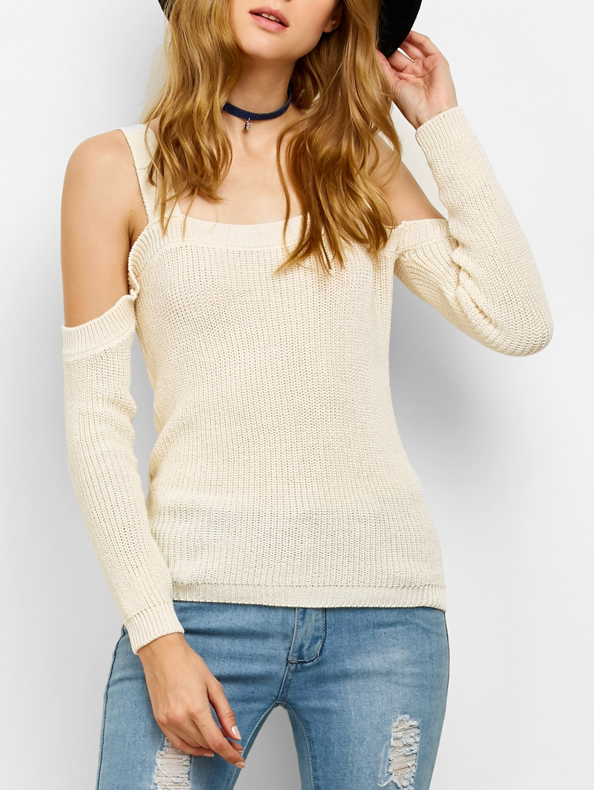Chunky Cold Shoulder Sweater