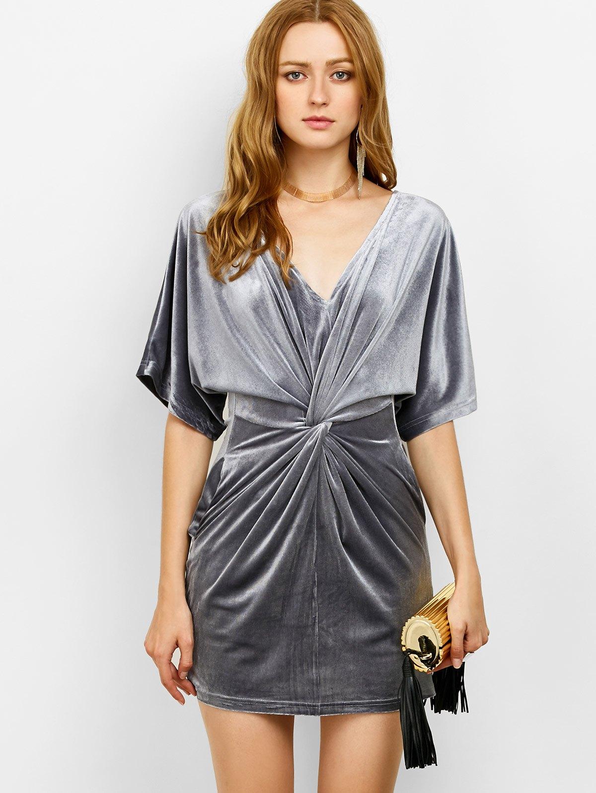 V Neck Velvet Twist Front Dress