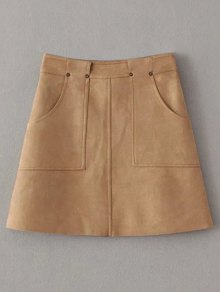 A Line Front Pockets Suede Skirt - Light Coffee L