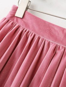 Pleated Velvet Mini Skirt - PINK L