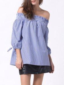 Off The Shoulder Smocked Striped Blouse - Blue 2xl