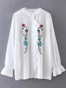 Embroidered Ruffled Shirt