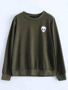 Fitting Skull Sweatshirt - Army Green M