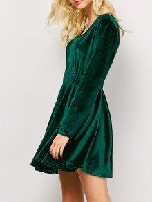 Long Sleeve Velvet Thick Mini Swing Dress - Green L