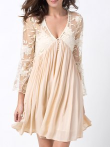 Flare Sleeve Deep V Lace Panel Dress - Off-white L