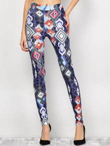 High Waist Geometric Print Leggings - Blue