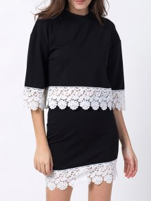 Crew Neck Lace Panel T-Shirt With Mini Skirt - Black