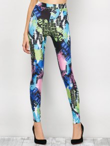 High Waist Tie-Dyed Figure Leggings - Blue