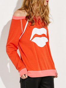 Lips Print Off Shoulder Sweatshirt