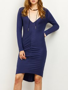 Ruched High-Low Pencil Dress