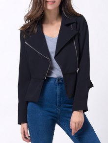 Zip Up Asymmetric Peplum Blazer - Black