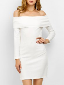 Off The Shoulder Mini Bodycon Party Dress - White L