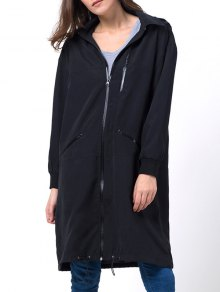 Full Zip Trench Coat With Pockets - Black 2xl