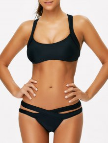 Cut Out Sporty Bikini - Black
