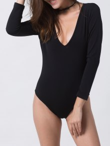 Fitted Long Sleeve Plunge Bodysuit - Black M