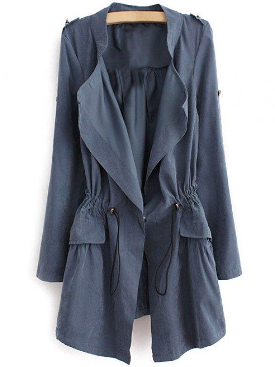 Epaulet Drawstring Coat - BLUE GRAY M Mobile
