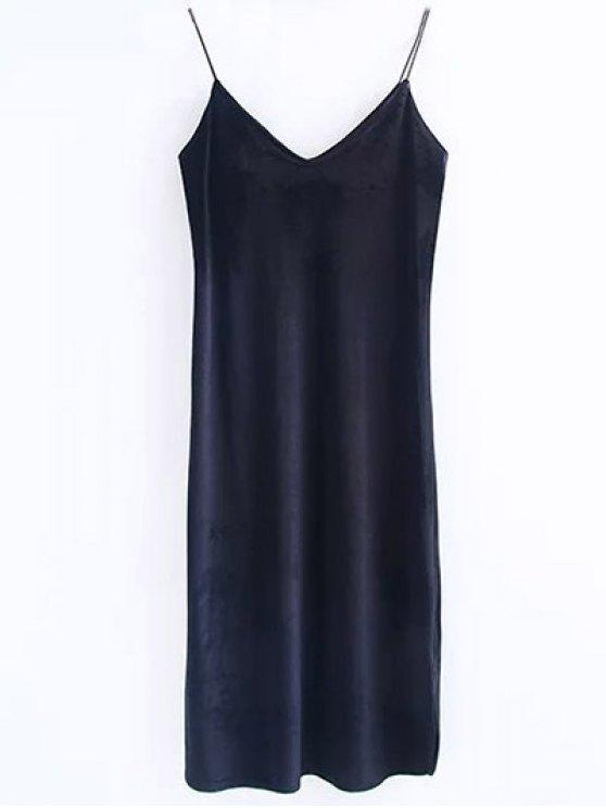 Cami vestido de terciopelo Midi - Negro M
