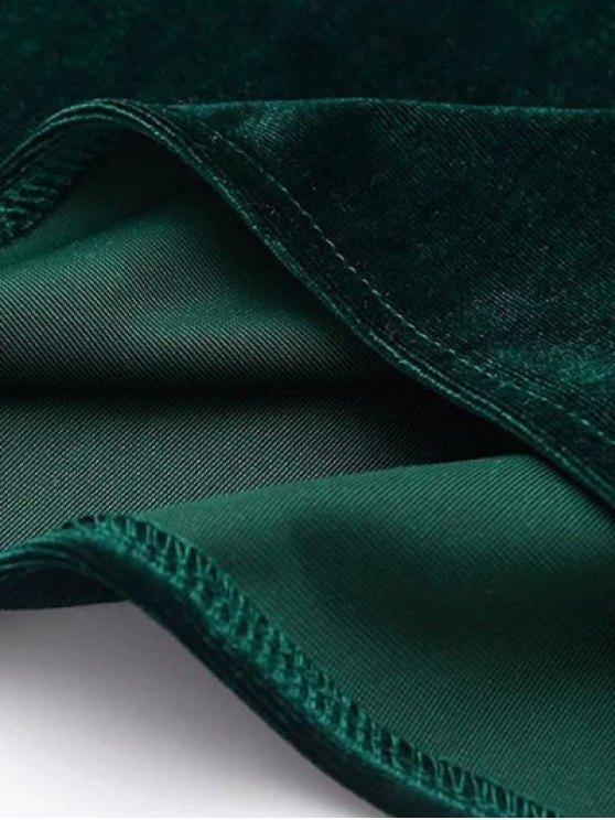 Cami Velvet Midi Dress - OLIVE GREEN S Mobile